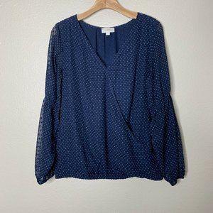 LOFT Medium Blue White Polka Dot Faux Wrap blouse